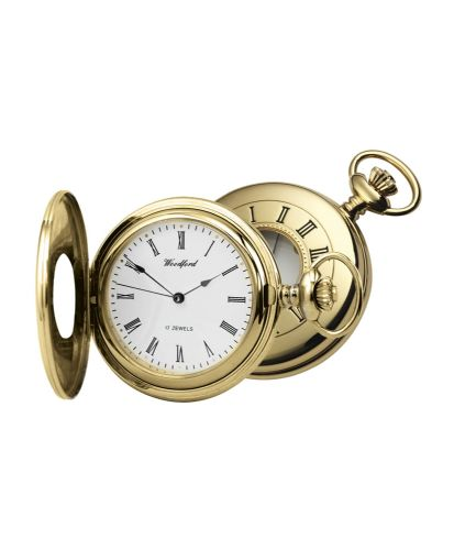 Mechanical Gold Plated Plain Half Hunter Pocket Watch With Chain